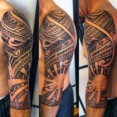 Tribal Sun Tattoo For Men Sleeve