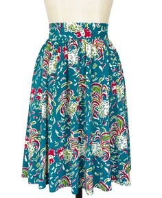 Make a statement this summer with the Ruffled Feathers collection! Featuring new and classic styles, this bold print perfectly captures the vivacious spirit of the 1940s. The ultra feminine Classic Knee-Length Skirt is '40s inspired perfection in our new light and airy stretch rayon fabric. The skirt features gathers at the waistband, a fitted high waist, and a concealed back zipper. This version of the skirt features a slightly longer skirt length - perfect for breezy summer days!