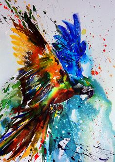 Watercolour Parrot Flying