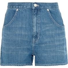 MadewellWestside Denim Shorts (€87) ❤ liked on Polyvore featuring shorts, bottoms, mid denim, zipper pocket shorts, short jean shorts, frayed denim shorts, denim shorts and frayed shorts