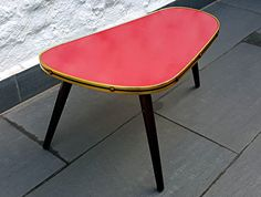 50 s en forme de rein de fleurs table tabouret rouge formica top