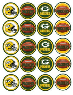 NFL Green Bay Packers Instant download cupcake by DecorAtYourDoor Bottle Cap Jewelry, Bottle Caps, Nfl Green Bay, Green Bay Packers, Packers Memes, Bottle Cap Images, Baking Ideas, Paracord, Beading