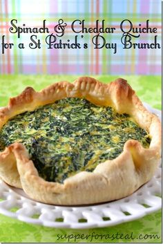 Spinach and Cheddar Quiche for St Patrick's Day Brunch | #SundaySupper @Supper for a Steal