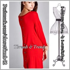 Crimson Red Tunic Dress Gorgeous and vibrant Crimson red button back detail tunic. Perfect color for the holiday season. Size S, M, L made of rayon & spandex. Threads & Trends Dresses