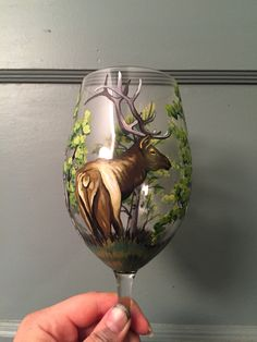 Hand painted Elk Riedel Red Wine Glasses Facebook.com/twistedleafdesigns contact me at my page to order yours, shipping available.