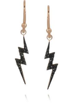 DIANE KORDAS  Lightning Bolt 18-karat rose gold diamond earrings