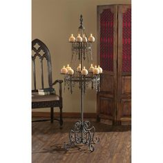 UNIQUE Castle Gothic Floor Candelabra Medieval Candlesticks Holder Grey Finish   #Unbranded #Gothic