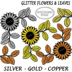 ClipArt SALE Glitter Flowers with Leaves - Gold Silver & Copper Floral Clip Art Images Large Flower and Leaf Design Transparent Background (2.00 USD) by ArtWildflowersDigi