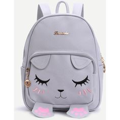 Grey Cat Face Design Cute Backpack ($22) ❤ liked on Polyvore featuring bags, backpacks, backpack, grey, grey backpack, cat bag, grey bag, day pack backpack and rucksack bags