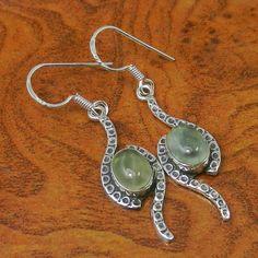 925 SOLID STERLING SILVER 4.81g PREHNITE  EARRING JEWELLERY SJER0051 #Handmade #Earring