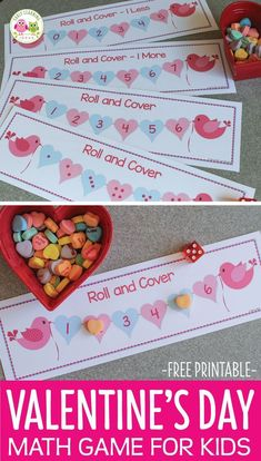 Here is a fun Valentine's Day game for kids. Use this free printable roll and cover game your Valentine's Day theme math centers of work stations. Perfect for your preschool, pre-k, and kindergarten kids. Use this hands-on math game to teach subitizing, counting, numeral recognition plus the concepts of one more and one less. February math, February math work stations, work tubs. #mathforchildren