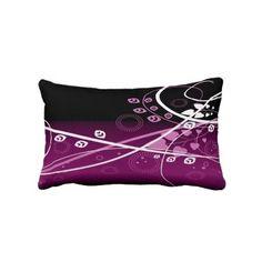 Purple, White & Black Lumbar Pillow