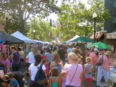 A very crowded Allen Street during the Children & Youth Sidewalk Sale during Arts Fest | State College, PA