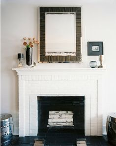 Painted brick fireplace   White on white