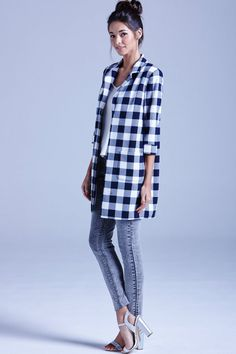 Outlet Girls On Film Navy and White Gingham Coat - Outlet Girls On Film  from Little Mistress UK 8b58a1e397