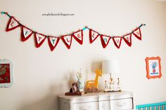 Little Loves pennant - such a sweet touch to this twins nursery! #nursery #twins