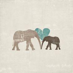 Mama Elephant & Baby Elephant Nursery Art Print by ONEELM on Etsy, $15.00