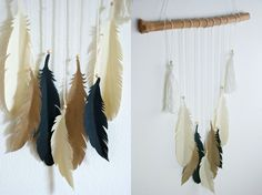 DIY - Federleichter Wandbehang mit Federn aus Papier – free printable - mit kostenloser Vorlage http://barfussimnovember.com