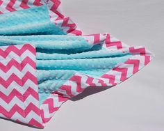 Pink Chevron Baby Blanket with Aqua MInky Design your by BoCoBaby, $42.00