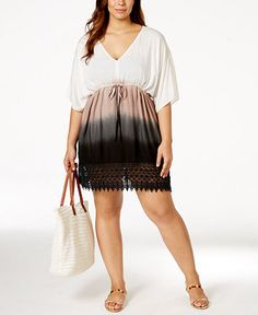 Raviya Plus Size Crochet-Trim Ombré Cover-Up Tunic - Swimwear - Plus Sizes - Macy's