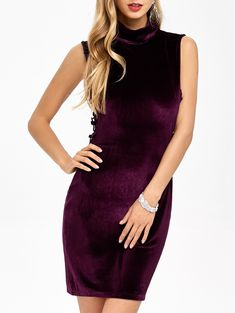 Fitted Velvet  Cut Out Mini Dress