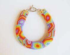 Bead crochet pattern PDF JBB tutorial Rainbow Bead Crochet pattern Geometric pattern Native American pattern Jewelry Seed bead pattern by InnessaBoutique on Etsy