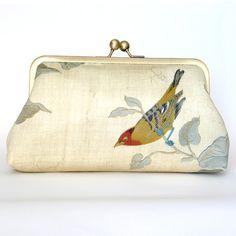 Kisslock Frame Clutch Silk Lined Bird Bridesmaid by FoxburyAndCo, $67.00