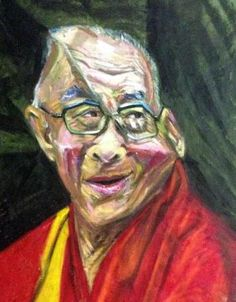"""""""HBD...Dalai Lama /Religious Leader"""" #Creative #Art in #painting @Touchtalent"""