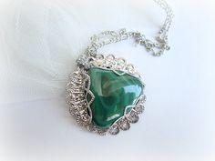 Malachite necklace gemstone pendant necklace by MalinaCapricciosa