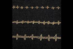 """Gold posaments from Birka: (up) grave 736, 542, 644. (male) Placed round the heads.  """"Bandet högst upp kommer från grav 736 i Hemlanden. De två andra har hittats i kammargravar norr om Borg. Samtliga finns i utställningen Vikingar (monter 6) på Historiska museet.  Just de här har suttit som diadem kring huvudet. Personerna har också fått med sig vapen i form av svärd, sköldar och spjut."""""""