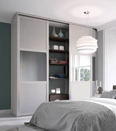 Deluxe shaker sliding doors from Spaceslide. Deluxe Shaker sliding wardrobe doors with aluminium frame available in satin silver, cashmere and stone grey finishes. Sliding Mirror Wardrobe Doors, Sliding Doors, Ikea Shelves, Door Shelves, Bedroom Layouts, Bedroom Ideas, Wardrobe Design, Home Decor Inspiration