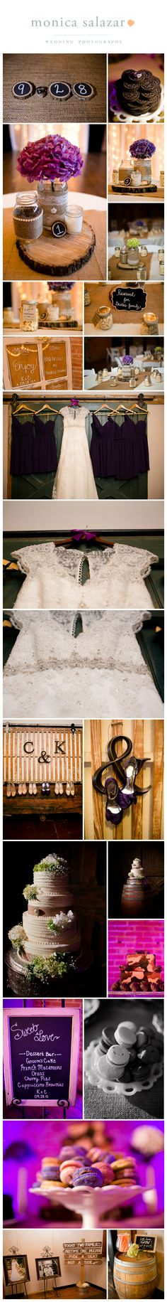 Rustic chic wedding details at the Flour Mill in McKinney Texas, by Dallas and McKinney Wedding Photographer Monica Salazar Photography.