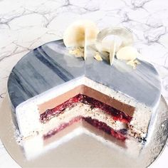 Marble Entremet - White Mirror Glaze Earl grey & Camomile Mousse Strawberry Liqueur & Dark Chocolate Cremux Summer Berries Jelly Hazelnut Royaltine Crunchy Base Sable Breton [1080x1080] - see http://www.classybro.com/ for more!