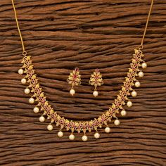 Gold Necklace / Matte Gold Necklace/ Indian Necklace/ South Necklace/ One Gram Gold Necklace/ Indian Jewelry/ Delicate Gold Necklace Jewelry Design Earrings, Gold Earrings Designs, Necklace Designs, Small Earrings, Gold Bangles Design, Gold Jewellery Design, Gold Jewelry, Jewelery, Fancy Jewellery