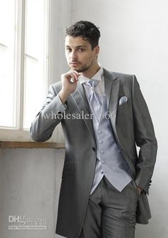jesse's Wholesale Custom Made Long One Button Grey Groom Tuxedos Best Man Peak Lapel Groomsmen/Men Wedding Suits Bridegroom (JacketPantsVestTie) A209, Free shipping, $99.68-126.56/Piece   DHgate