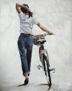 Woman Bicycle Painting Art PRINT Woman Walking Bicycle - Canvas Wall Art Print - gift for wo. : Woman Bicycle Painting Art PRINT Woman Walking Bicycle - Canvas Wall Art Print - gift for woman cyclist bicycle lover gift cycling gift Bicycle Painting, Bicycle Art, Bicycle Design, Illustration Mode, Character Illustration, Illustrations, Canvas Wall Art, Wall Art Prints, Canvas Board