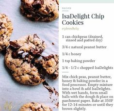 Healthy chocolate chip cookies - New Ideas Cookies Healthy, Healthy Chocolate Chip Cookies, Healthy Treats, Healthy Desserts, Dessert Recipes, Healthy Recipes, Protein Cookies, Fast Recipes, Protein Recipes