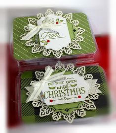 What a neat way to make gift giving fun by putting a few touches to these Stampin' . Christmas Ideas, Christmas Crafts, Arts And Crafts, Paper Crafts, Winter Wonder, My Stamp, Happy Saturday, Embossing Folder, Gift Cards