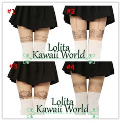 2 for 3 kawaii bow flowers printing fake over knees legging lk15071534