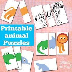 Printable Animal Puzzles Busy Bag is part of crafts Gifts Animal Faces Sweet Animal Printables to Keep the Kids Busy This sweet printable animal puzzle busy bag let's kids mix and match different - Toddler Fun, Toddler Learning, Learning Activities, Preschool Activities, Animal Activities For Kids, Toddler Busy Bags, Toddler Puzzles, Quiet Time Activities, Puzzles For Toddlers