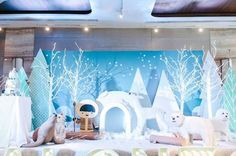 Arctic backdrop from an Arctic Animal Birthday Party on Kara's Party Ideas Winter Wonderland Decorations, Winter Wonderland Party, Christmas Wonderland, Snow Theme, Winter Theme, Arctic Decorations, Snow Decorations, Operation Arctic, Artic Animals