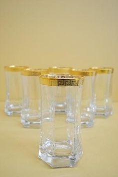 marigold houseware gold greek key print rim tall tumbler glasses made in italy