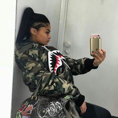 trying on clothes< missing top to my charger case< but this jacket >>> Bape Outfits, Edgy Outfits, Fashion Outfits, Dope Fashion, Fashion Killa, Urban Fashion, Curvy Fashion, Street Fashion, Weave Styles