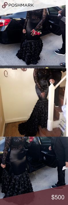 Black lace Custom Prom Dress🖤 This is my dress from 2017 it is custom made so there is no way anyone will have this same exact dress it is one of a kind.  It is a black lace fitted dress with a rose flower train .  It come with a little hook at the end of the train for you or your date to hold. It's an all black lace dress , can be worn with a bra or no bra.  I loved this dress so much . Worn only for 4 hours.  I am willing to negotiate my price  Can fit a size S-M #prom #beauty #black…