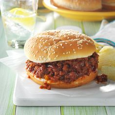 Slow Cooker Sloppy Joes Recipe -On hot summer days, this cooks without heating up the kitchen while I work on the rest of the meal. It's easy to double or triple for crowds, and if there are any leftovers, you can freeze them to enjoy later. —Carol Losier, Baldwinsville, New York
