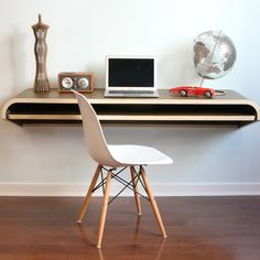 Floating desk - such a modern look!