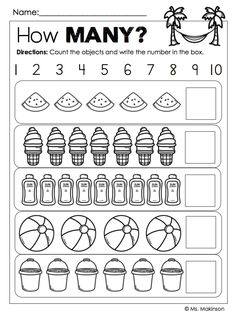SUMMER Printables for Kindergarten - How Many? Counting (1-10)