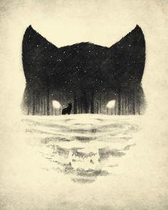 Wolf and Forest illustration #wolf #forest #illustration #desenho #art #ilustração