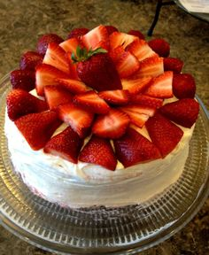 Made from scratch strawberry cake