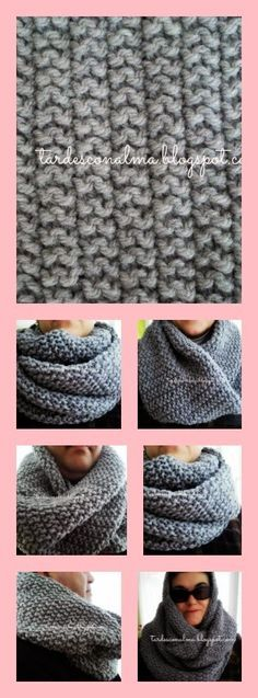 Tardes con Alma: Bufanda cuello modelo Infinitum a punto de arroz d. Crochet Ripple, Crochet Poncho, Crochet Yarn, Knitting Stiches, Arm Knitting, Knitting Patterns, Crochet Patterns, Knitted Slippers, Free Pattern